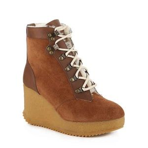 Joie Alary suede brown wedge laceup bootie NWT